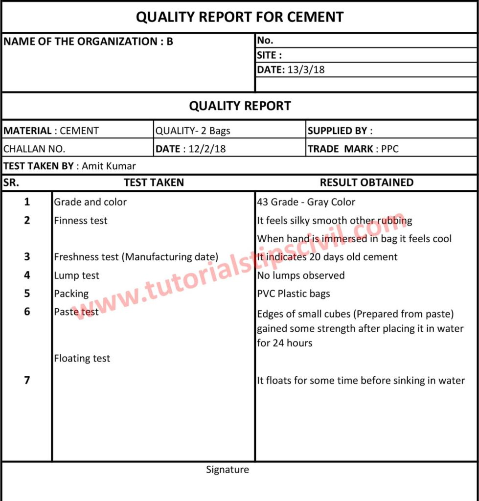 Cement quality report