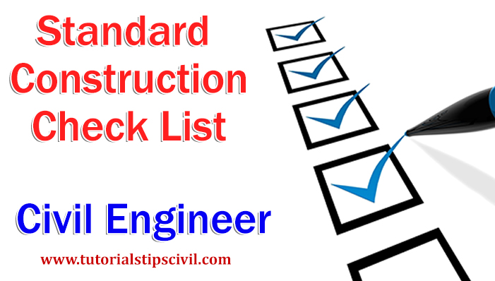 Check list for civil work
